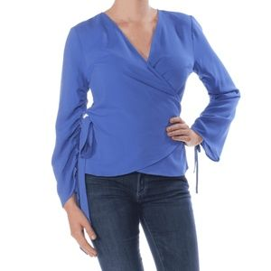 Bar III Womens Blouse Ruched Wrap Top Long Sleeve